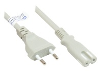Euro-Netzkabel Euro-Stecker Typ C (gerade) an C7/Euro 8 Buchse (gerade), grau, 0, 75 mm², 1 m, Good Connections®