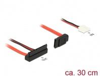 Kabel SATA 6 Gb/s 7 Pin Buchse + Floppy 4 Pin Strom Buchse (5V) an SATA 22 Pin Buchse oben gewinkelt, 0, 3m, Delock® [84850]