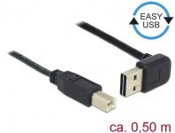 Kabel EASY-USB 2.0 Typ-A Stecker gewinkelt oben / unten > USB 2.0 Typ-B Stecker, schwarz, 0, 5 m, Delock® [85183]