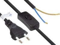 Euro-Netzkabel Euro-Stecker Typ C (gerade) an abisolierte Enden, mit Schalter, schwarz, 0, 75 mm², 1, 5 m, Good Connections®