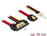Kabel SATA 6 Gb/s 7 Pin Buchse + Floppy 4 Pin Strom Stecker an SATA 22 Pin Buchse gerade Metall, 0, 3m, Delock® [85232]