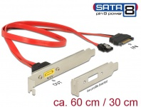 Slotblech SATA 6 Gb/s 7 Pin Buchse + SATA 15 Pin Strom Stecker intern an SATA Stecker Pin 8 Power extern, Delock® [84951]