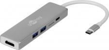 USB-C™ Multiport Adapter, 5 Gbit/s, ALU, USB-C™ Stecker an HDMI Buchse, 2x USB 3.0 A Buchse, Micro SD Card Reader, 1x USB C™ Buchse (PD 60W), silber