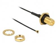 Antennenkabel RP-SMA Buchse zum Einbau an MHF IV/ HSC MXHP32 kompatibler Stecker 100mm 0.81 Gewindelänge 9mm spritzwassergeschützt, Delock® [12464]