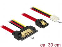 Kabel SATA 6 Gb/s 7 Pin Buchse + Floppy 4 Pin Strom Buchse an SATA 22 Pin Buchse gerade Metall, 0, 3m, Delock® [85234]