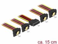 Kabel SATA 15 Pin Strom Stecker mit Einrastfunktion an SATA 15 Pin Strom Buchse 4 x unten 0, 15 m, Delock® [60166]