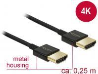 Kabel High Speed HDMI mit Ethernet, Stecker A an Stecker A, 3D, 4K, Slim High Quality, schwarz, 0, 25m, Delock® [85117]