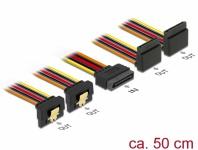 Kabel SATA 15 Pin Strom Stecker mit Einrastfunktion an SATA 15 Pin Strom Buchse 2 x unten / 2 x oben 0, 5 m, Delock® [60155]