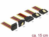 Kabel SATA 15 Pin Strom Stecker mit Einrastfunktion an SATA 15 Pin Strom Buchse 2 x gerade / 1 x unten / 1 x oben 0, 15 m, Delock® [60147]