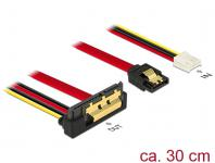 Kabel SATA 6 Gb/s 7 Pin Buchse + Floppy 4 Pin Strom Buchse an SATA 22 Pin Buchse unten gewinkelt Metall, 0, 3m, Delock® [85235]