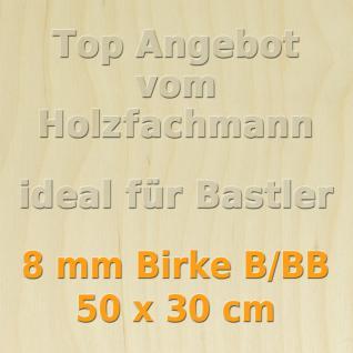 Sperrholz 8mm Birke Sperrholzplatte Modellbau Holzplatte Bastelholz 50 x 30 cm