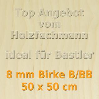 Sperrholz 8mm Birke Sperrholzplatte Modellbau Holzplatte Bastelholz 50 x 50 cm
