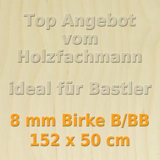 Sperrholz 8mm Birke Sperrholzplatte Modellbau Holzplatte Bastelholz 152 x 50 cm
