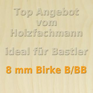 XL Paket 10 Platten 8mm Birke Sperrholzplatte Qualität B/BB 152 x 50 cm