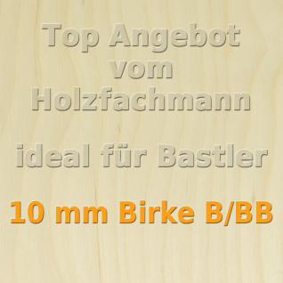 XL Paket 10 Platten 10mm Birke Sperrholzplatte Qualität B/BB 152 x 50 cm