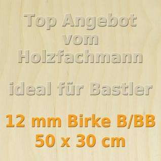 Sperrholz 12mm Birke Sperrholzplatte Modellbau Holzplatte Bastelholz 50 x 30 cm