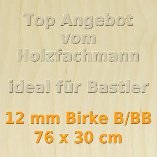 Sperrholz 12mm Birke Sperrholzplatte Modellbau Holzplatte Bastelholz 76 x 30 cm