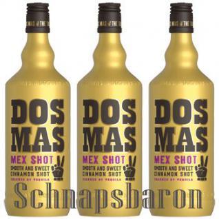 DOS MAS Tequila verfeinert mit Zimtlikör 3 x 0, 7 Liter