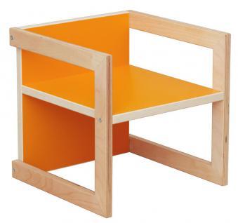 Kinderstuhl Kindermöbel Stuhl Tisch Michel Birke/Orange in 3 Sitzhöhen