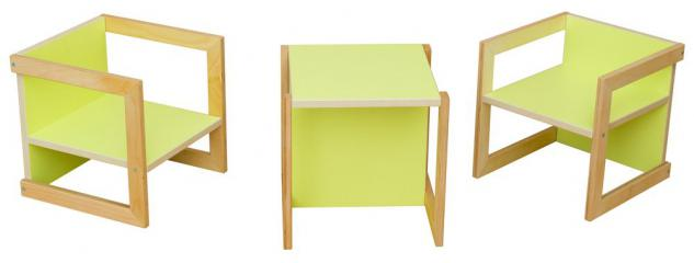 Kindersitzgruppe Kindermöbel Stuhl Michel 3-teilig Birke/Grün in 3 Sitzhöhen