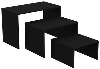 Ladeneinrichtung Präsenter Warenträger Set 3-teilig Shop Möbel versch. Dekore - Schwarz Perl