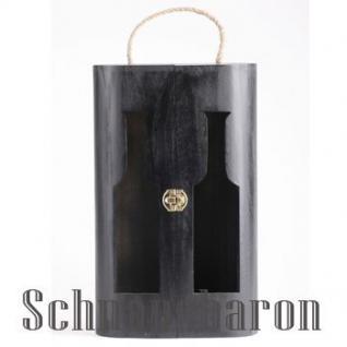 Holzbox Duo schwarz für 2 Flasche