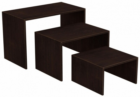 Ladeneinrichtung Präsenter Warenträger Set 3-teilig Vorlagetisch Wenge Gondou
