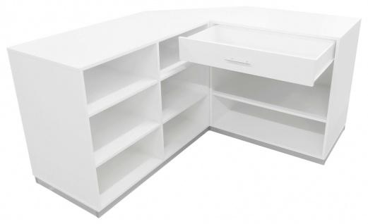 Ladeneinrichtung Verkaufstheke Weiß Tisch Kassentisch Ecktresen Kassentresen