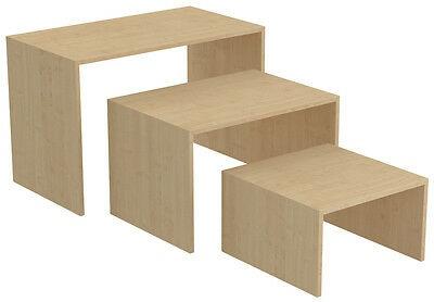 Ladeneinrichtung Präsenter Warenträger Set 3-teilig Shop Möbel versch. Dekore - Ahorn