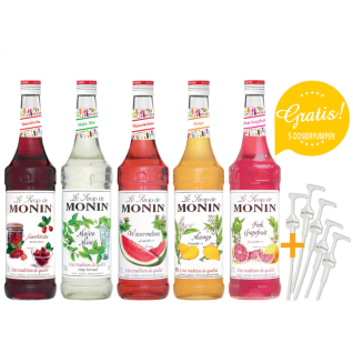 11, 43€/l MONIN-SET Cocktail+5 Pumpen gratis 5 x 0, 7 Liter