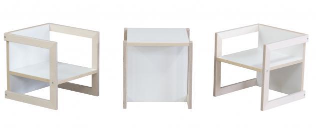 Kindersitzgruppe Kindermöbel Stuhl Michel 3-teilig Birke/Weiß in 3 Sitzhöhen