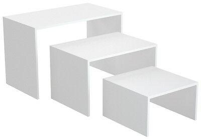 Ladeneinrichtung Präsenter Warenträger Set 3-teilig Shop Möbel versch. Dekore - Weiß Perl