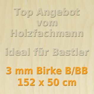 Sperrholz 3mm Birke Sperrholzplatte Modellbau Holzplatte Bastelholz 152 x 50 cm