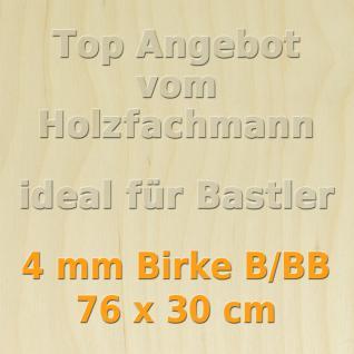Sperrholz 4mm Birke Sperrholzplatte Modellbau Holzplatte Bastelholz 76 x 30 cm