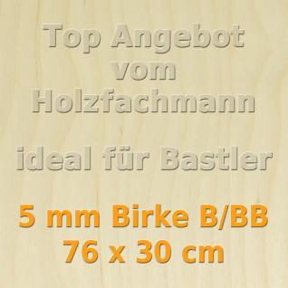 Sperrholz 5mm Birke Sperrholzplatte Modellbau Holzplatte Bastelholz 76 x 30 cm