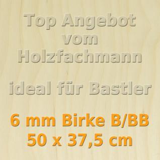 Sperrholz 6mm Birke Sperrholzplatte Modellbau Holzplatte Bastelholz 50 x 37, 5cm