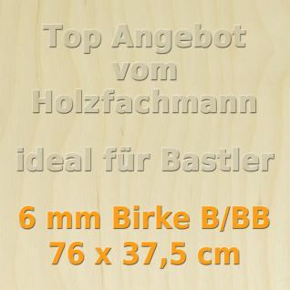 Sperrholz 6mm Birke SperrholzplatteModellbau Holzplatte Bastelholz 76 x 37, 5 cm