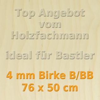 Sperrholz 4mm Birke Sperrholzplatte Modellbau Holzplatte Bastelholz 76 x 50 cm