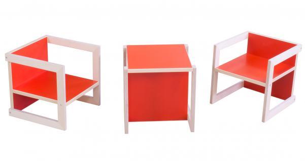 Kindersitzgruppe Kindermöbel Stuhl Michel 3-teilig Birke/Rot in 3 Sitzhöhen
