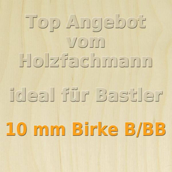 76 x 50cm GP 14,73 /€//m/² XL Paket 10 Platten 3mm Birke Sperrholzplatte Qualit/ät B//BB