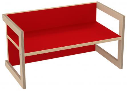PiHaMi Kindersitzbank Kindermöbel Stuhl Tisch Hannes Birke/Rot in 3 Sitzhöhen