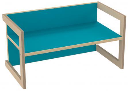 PiHaMi Kindersitzbank Kindermöbel Stuhl Tisch Hannes Birke/Blau in 3 Sitzhöhen