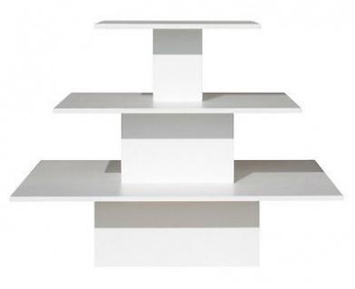 Regalpyramide groß Mittelraumpräsenter Warenträger Ladeneinrichtung Textil - Weiß Perl