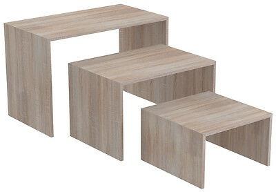 Ladeneinrichtung Präsenter Warenträger Set 3-teilig Shop Möbel versch. Dekore - Eiche sägerau