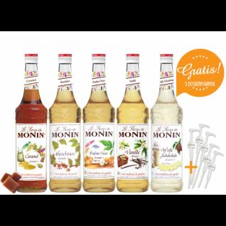 11, 43€/l MONIN-SET Café + 5 Pumpen gratis 5 x 0, 7 Liter
