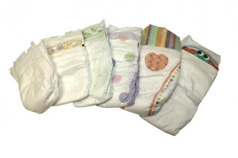 120 St. Gr 2 MINI Babywindeln 3-5kg, B-Ware, verschiedene Motive, 120 Stück meist lose verpackt