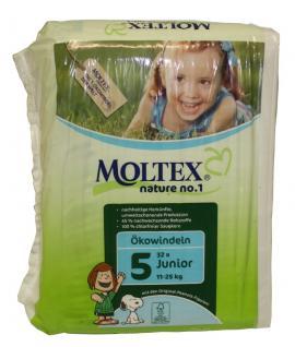 32 St. Gr.5 JUNIOR MOLTEX Nature No1 Ökowindeln Babywindeln Gr 5 = 11-25 kg Windeln
