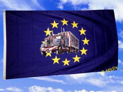Fahne Flagge EUROPA MIT TRUCK 150 x 90 cm - Vorschau