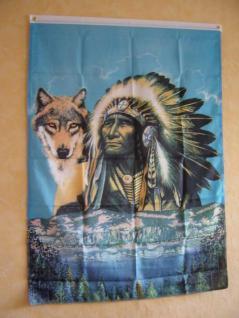 Fahne Flagge INDIANER MIT WOLF 2 150 x 90 cm
