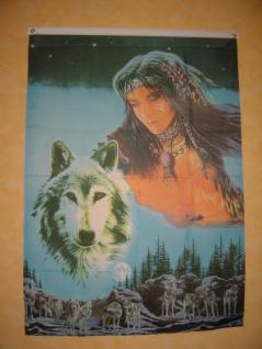 Fahne Flagge Indianerin Mit Wolf 150 X 90 Cm - Vorschau